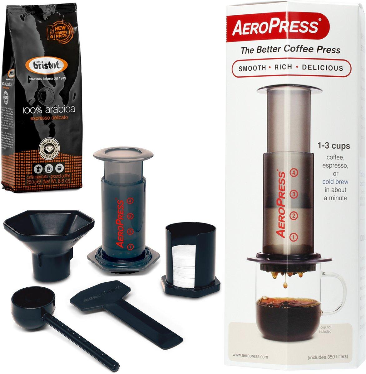 Aeropress Coffee Maker met Bristot 100% Arabica gemalen koffie 250gr kopen