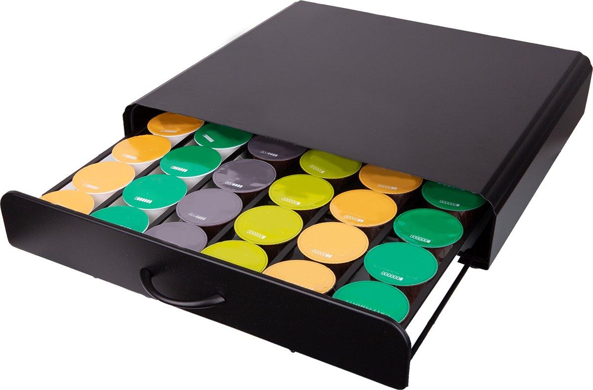 KitchenBrothers Capsule Houder met Lade - Geschikt voor Dolce Gusto - Espresso Koffie Pad en Cups Houder - 36 Capsules - RVS - Zwart kopen