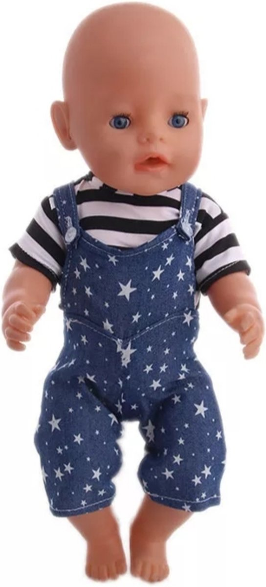 Afbeelding van product Lynn's  Poppenkleertjes - Geschikt voor Baby Born - Tuinbroek en shirt - Blauw met sterretjes - Jongen of meisje pop