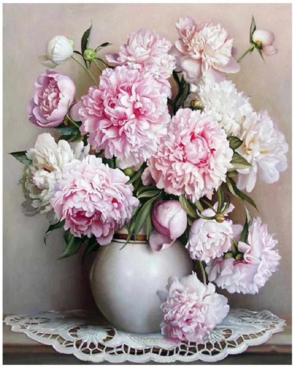 Schilderen op nummer - Witte en roze bloemen in vaas - 40 x 50 centimeter kopen