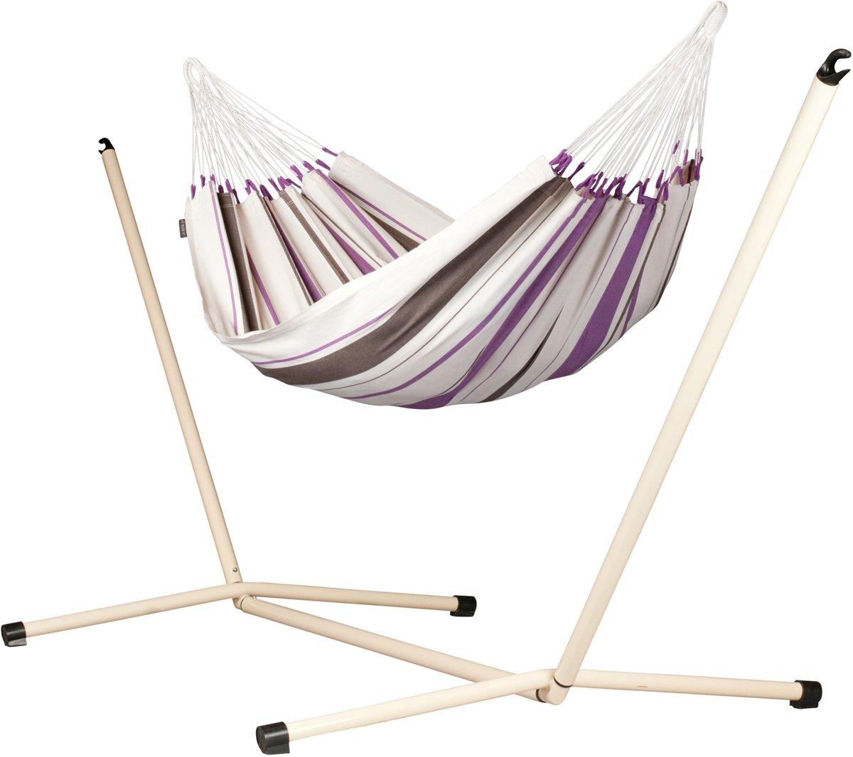 Hangmatset: 1-peroons hangmat CARIBEÑA purple + Standaard voor 1-persoons hangmat NEPTUNO