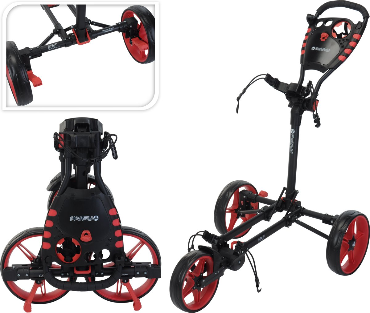 Fastfold - Flat golftrolley - charcoal/rood kopen