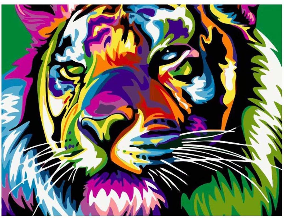 Afbeelding van product Schilderen op Nummer Volwassenen `Leeuw` 40 x 50 Hobby Pakket - Landschap Natuur Dieren - Painting by Numbers - Kunst Schilderij Decoratie - Vitch!™