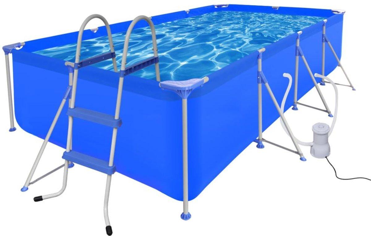 vidaXL Zwembad met ladder en pomp staal 394x207x80 cm