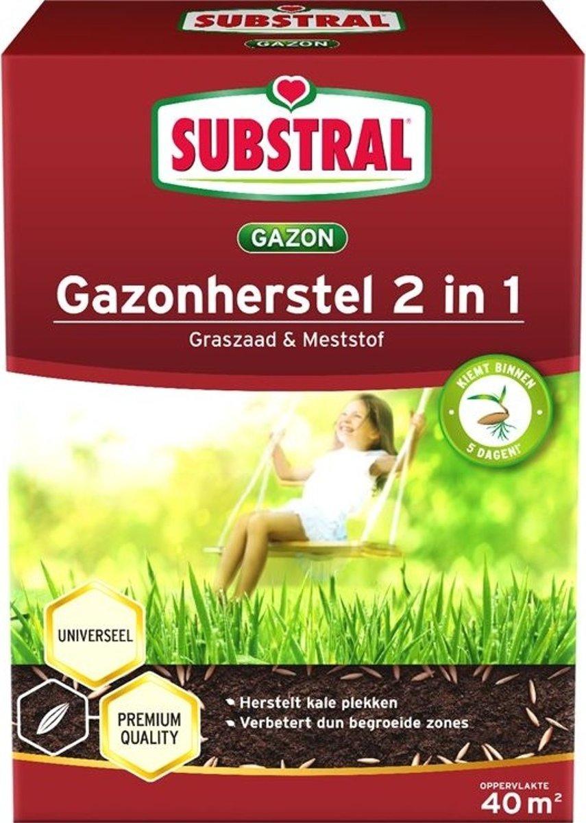 Gazonherstel graszaad + mest 2-IN-1 40 m² - set van 2 stuks