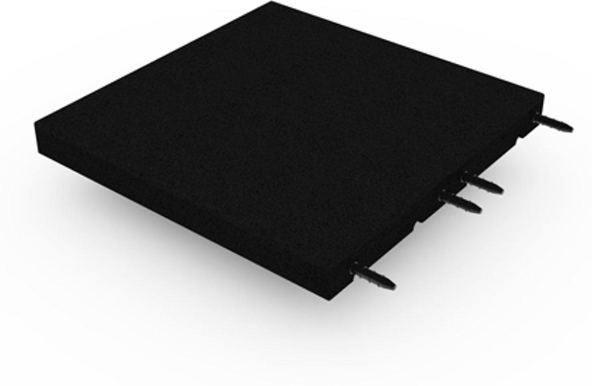 Rubber tegel met pen- en gat verbinding 50x50 cm - 55 mm - Zwart kopen