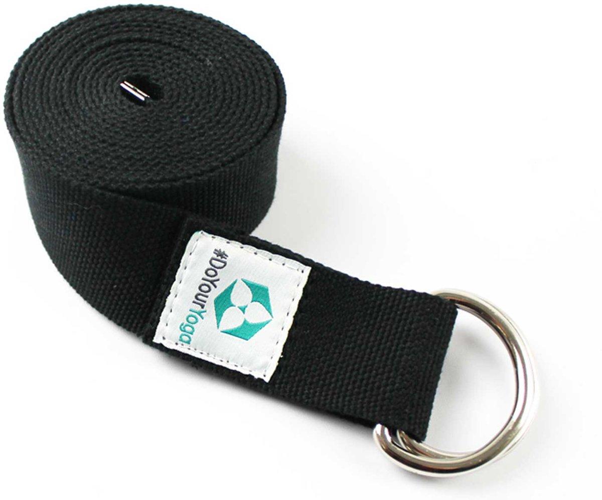 #DoYourYoga - Yogariem - »Madira« - 100% katoen met stabiele metalen ringsluiting - 260 x 3,8 cm - zwart kopen