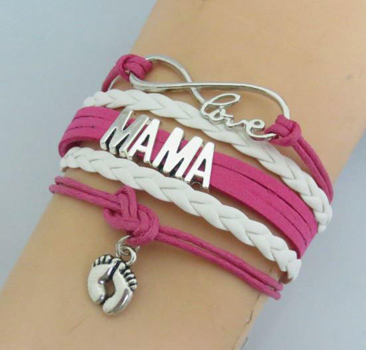 Roze mama wikkelarmband - verjaardagscadeau mama - kraamgeschenk moeder - moederdagcadeau kopen