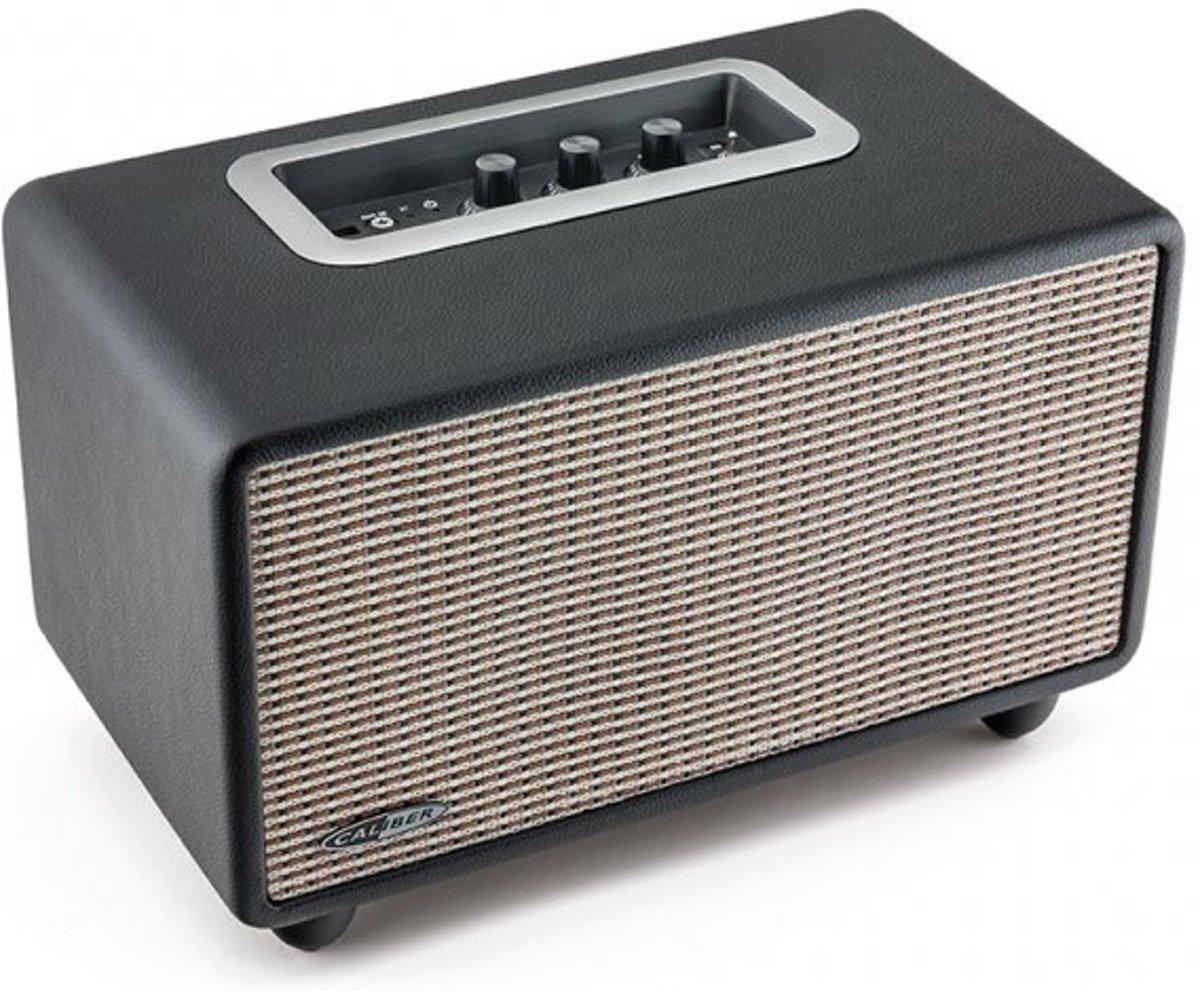 Caliber Retro speaker HFG411BT  - Zwart leren retro vintage Bluetooth speaker met USB, aux in ,volume,bass,treble regeling