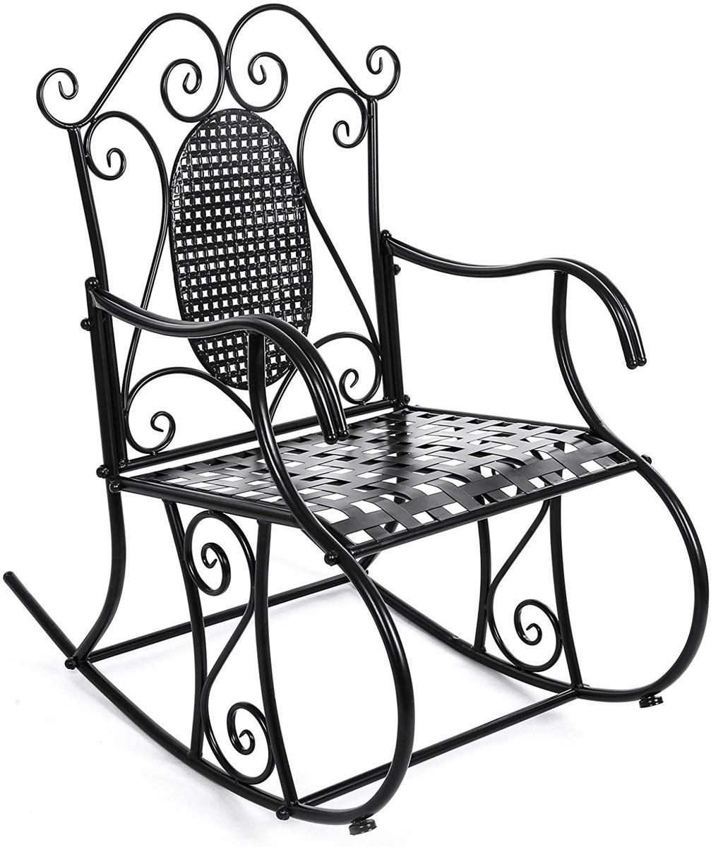 Klassieke Metalen Schommelstoel - Zwart kopen