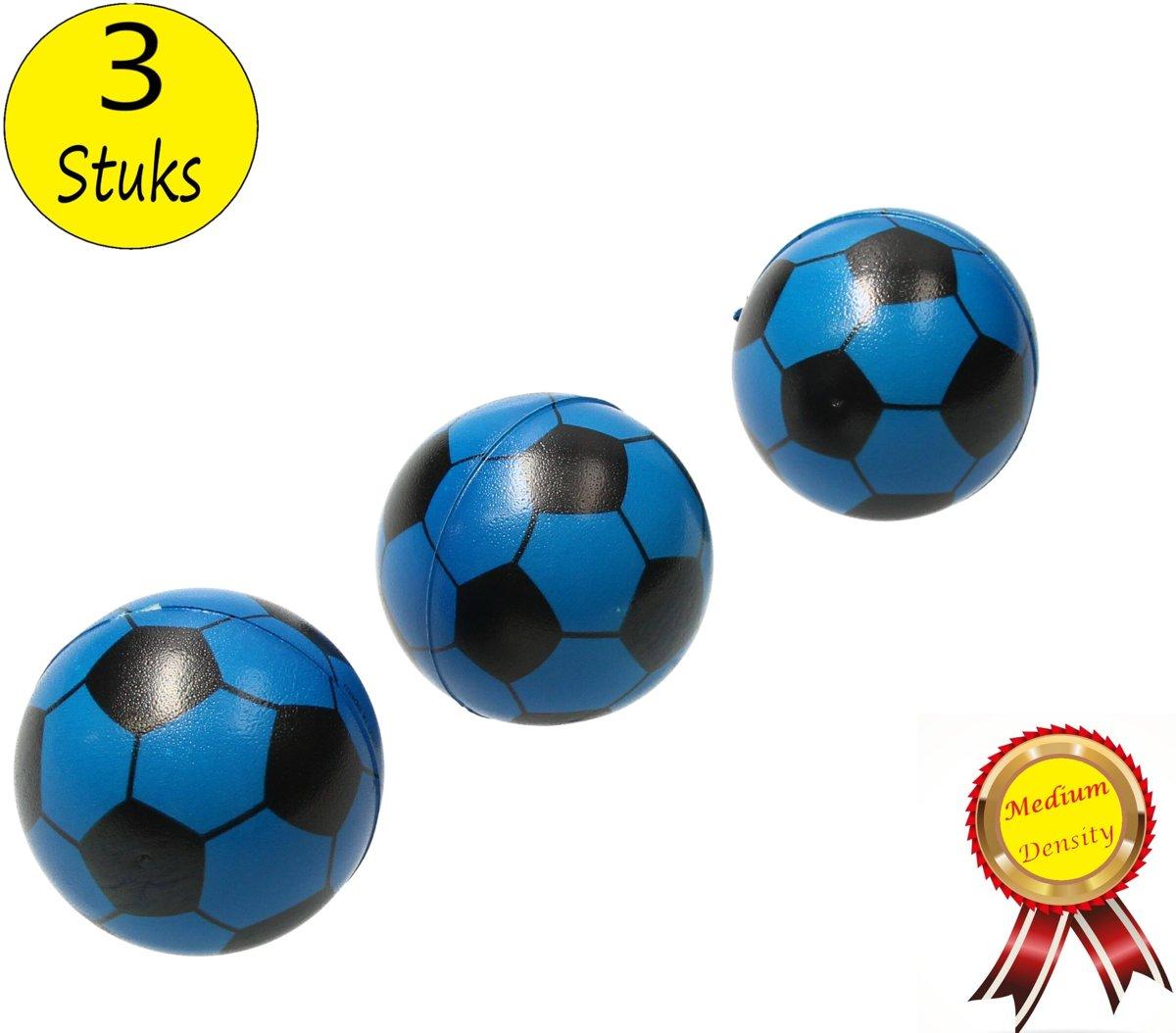 Stressbal Medium Density Voetbal 3 Stuks – Sensomotorische Stimulatie – Anti Stress – Blauw