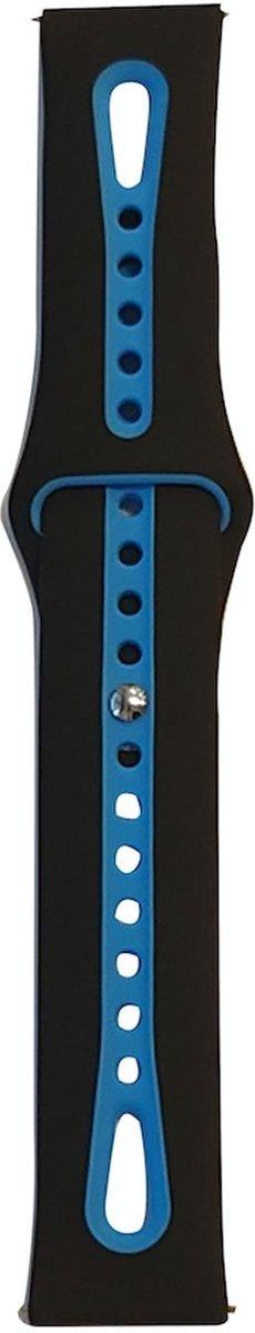 Samsung Gear S3 Sport bandje / Galaxy Watch 46mm SM-R810 duo color   Zwart/Donkerblauw   Watchbands-shop.nl kopen