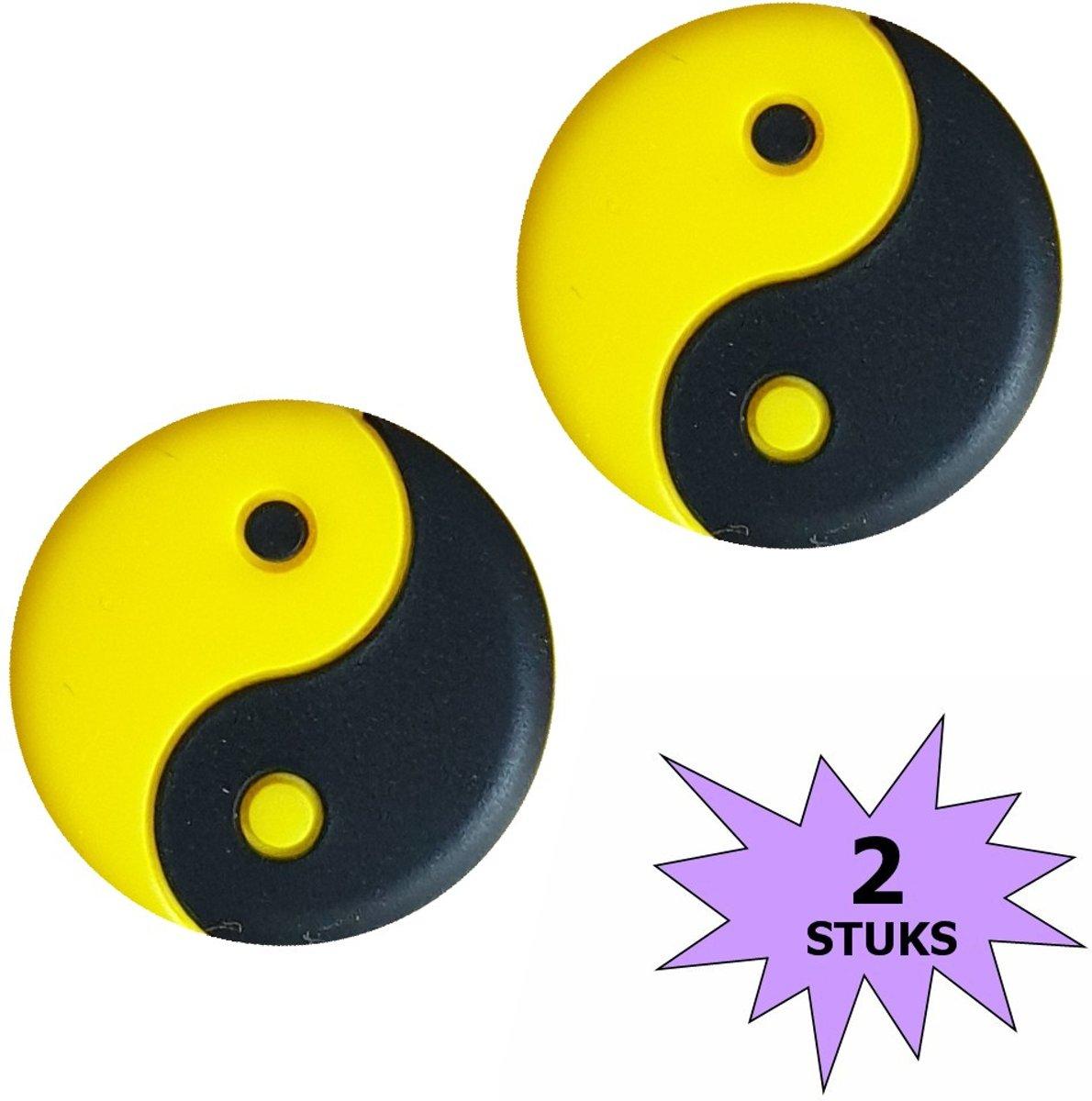 Fako Bijoux® - Tennisdemper - Yin Yang - Zwart/Geel - 2 Stuks kopen