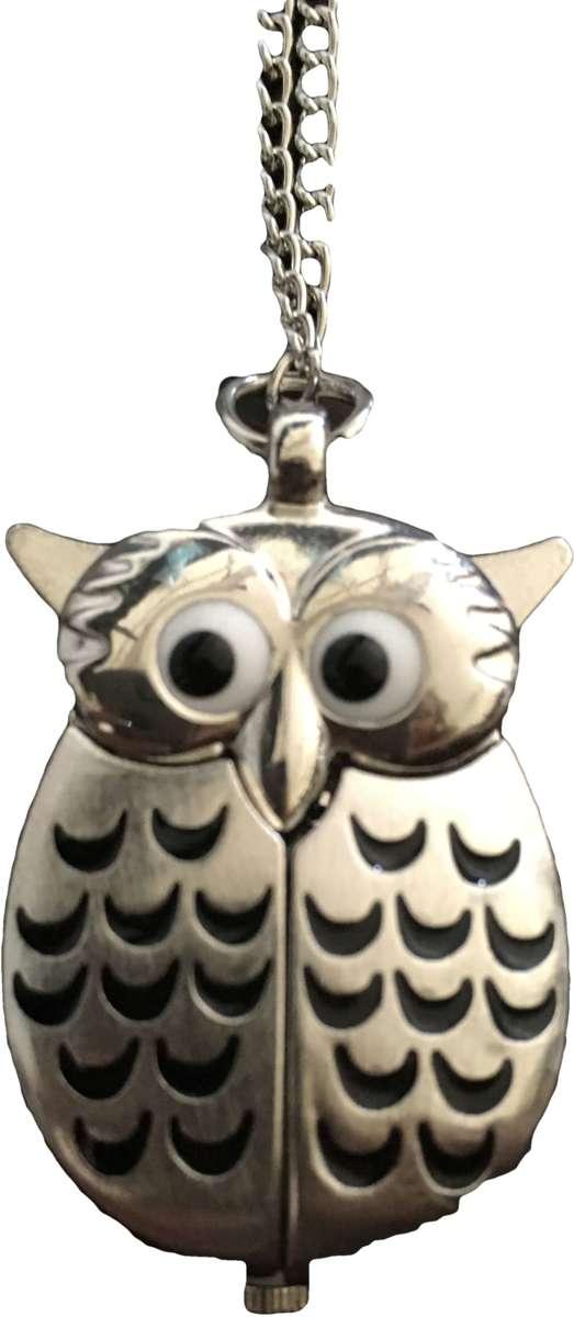 Horloge ketting uil zilverkleurig kopen