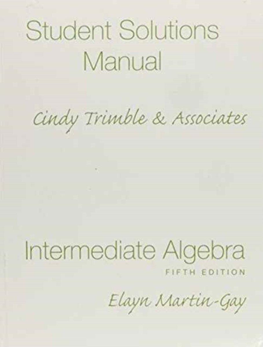 bol.com | Student Solutions Manual (Standalone) for Intermediate Algebra |  9780136030522 | Elayn.