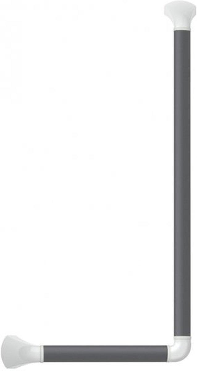 Wandbeugel zwart-grijs met afdekkappen in mat wit - 90 graden gehoekt 60 x 30 cm - SecuCare kopen