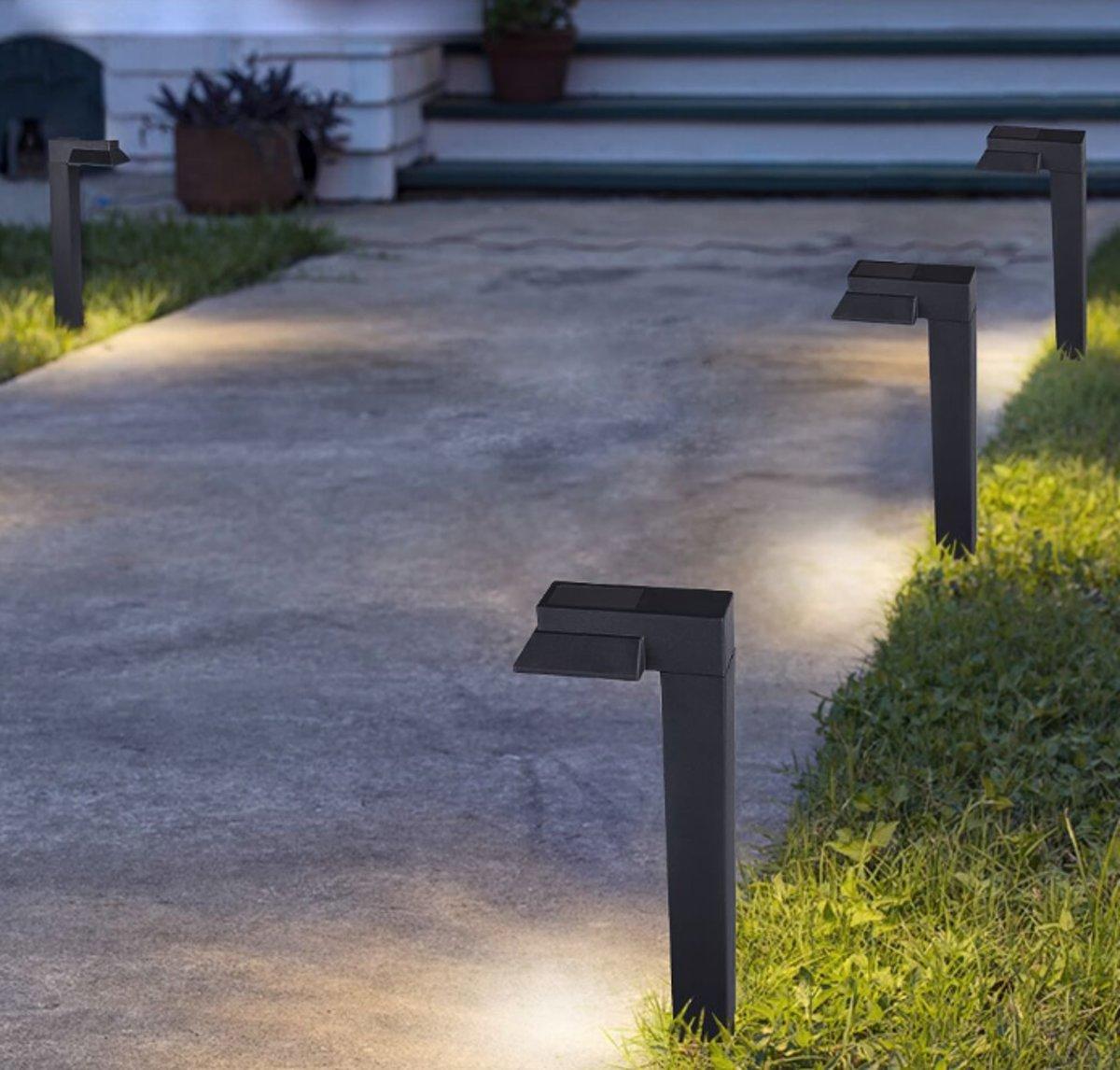The White Series - 6 haakse LED Solar buitenlampen met nachtsensor - Per set kopen