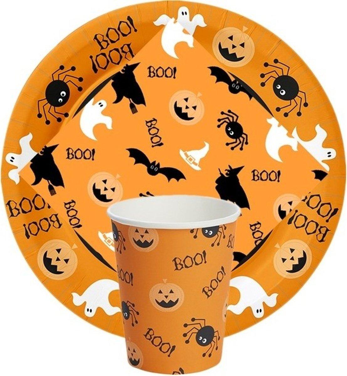 Oranje Halloween tafeldecoratie 10 borden/10 bekers/20 servetten