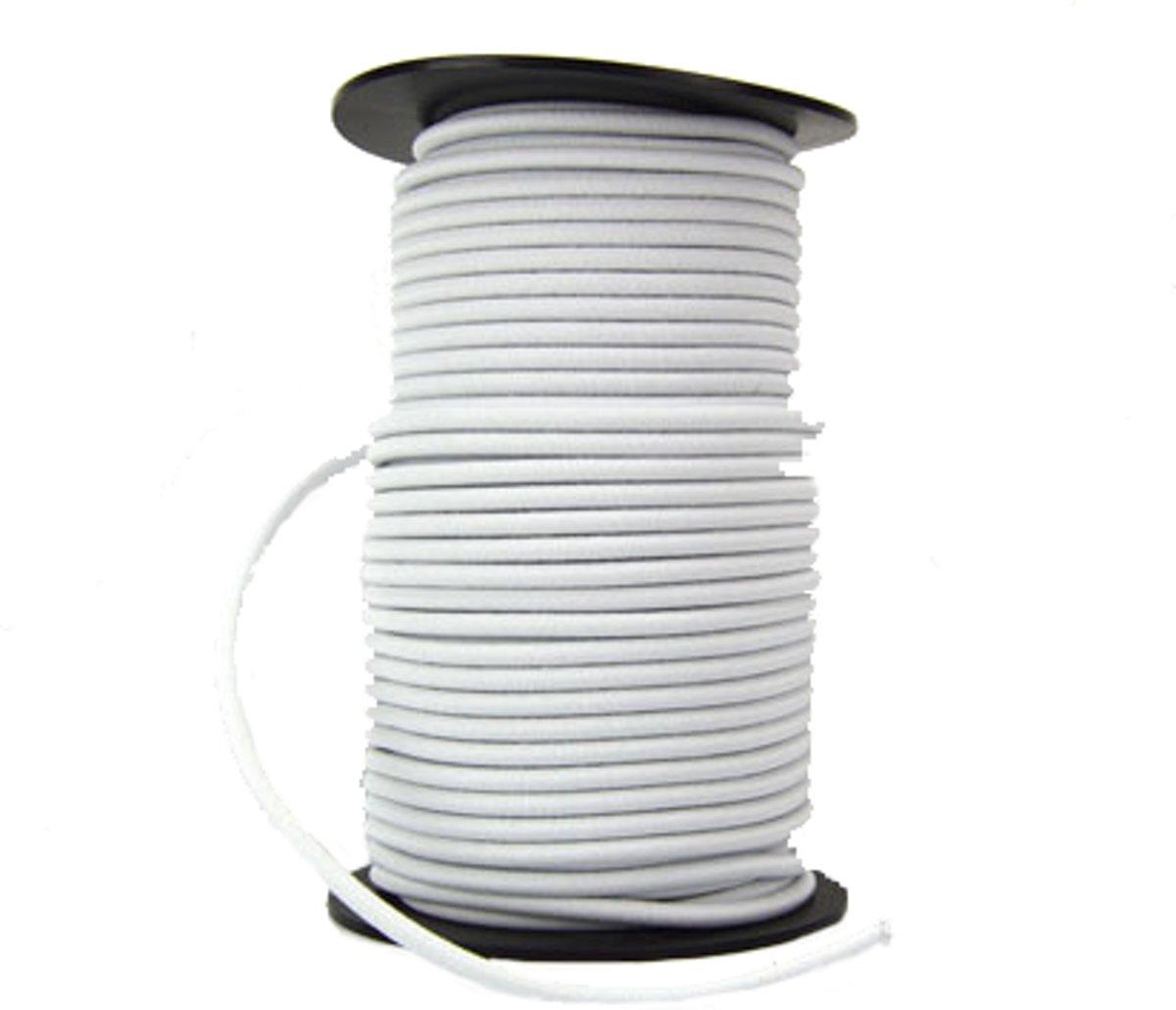 100 meter Elastisch Touw - 6 mm - WIT - elastiek op rol kopen