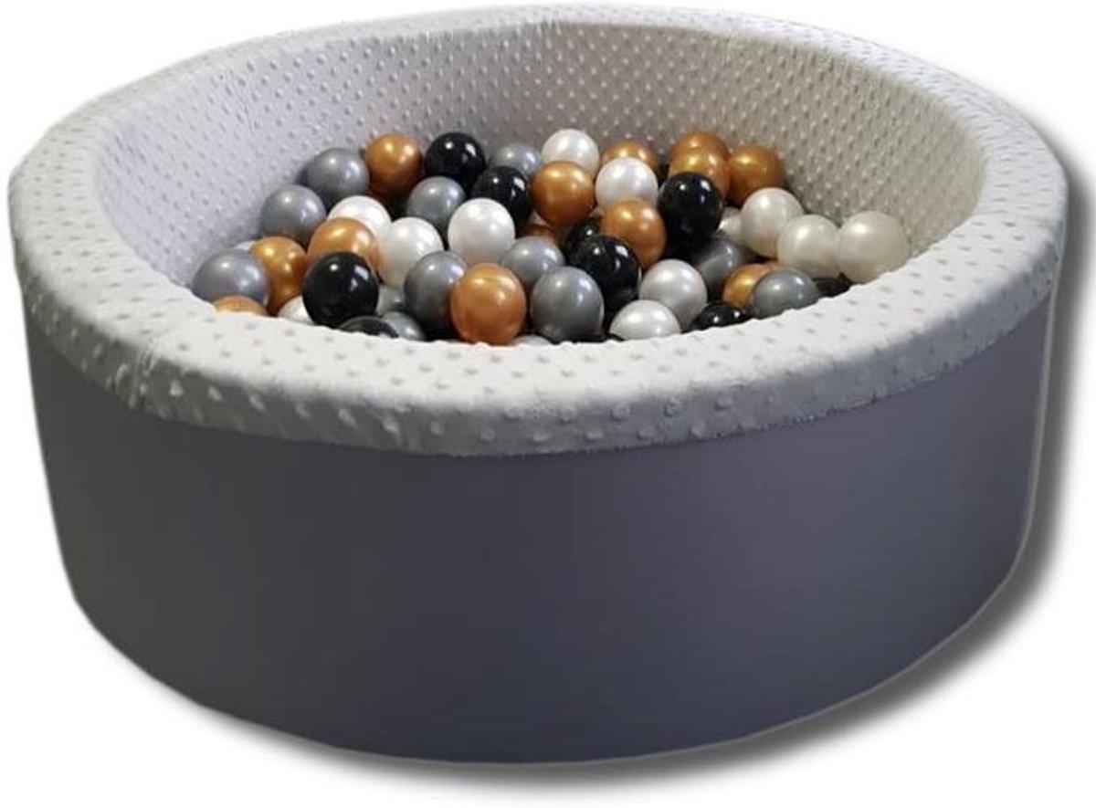 Grijze ballenbad - stevige ballenbak - 90 x 40 cm - 200 ballen Ø 7 cm - wit, goud, zilver, zwart