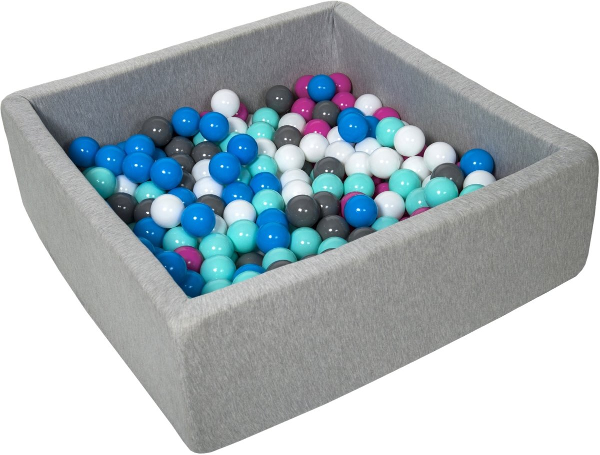 Ballenbak - stevige ballenbad - 90x90 cm - 300 ballen - wit, blauw, roze, grijs, turquoise.