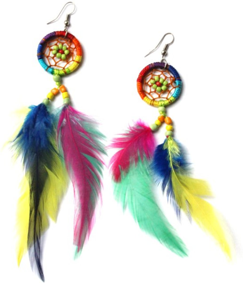 Feather oorbellen multi color kopen