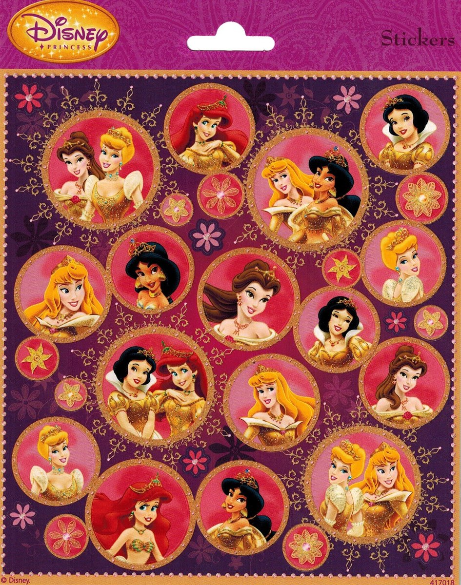 Disney Prinses Stickers Rond Glitter