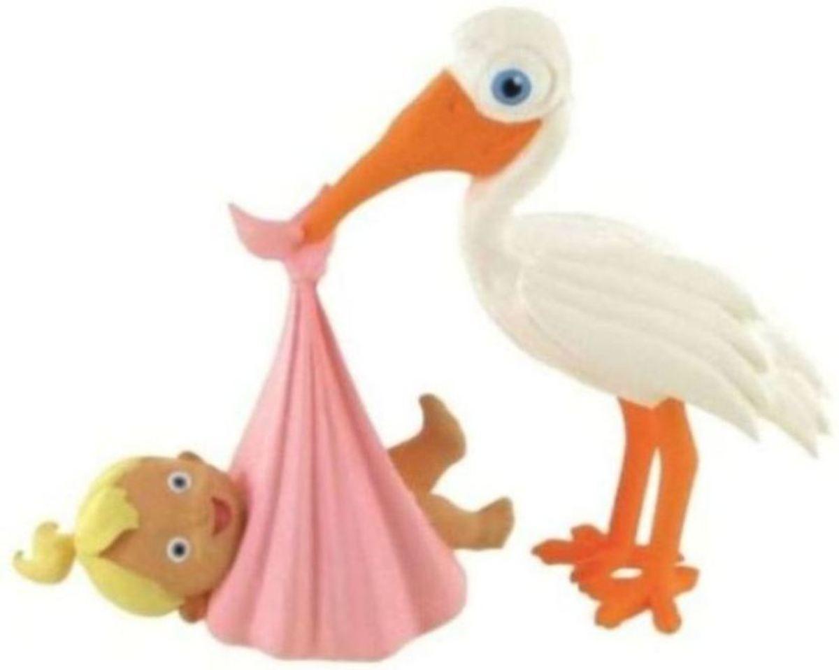 Figuurtje Ooievaar brengt baby girl - 8 x 9 cm