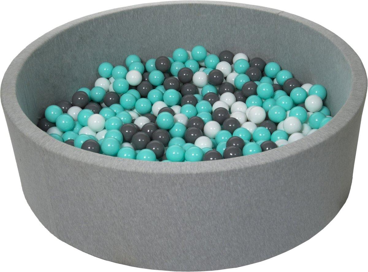 Ballenbak - stevige ballenbad - 125 cm - 600 ballen Ø 7 cm - wit, grijs, turquoise.