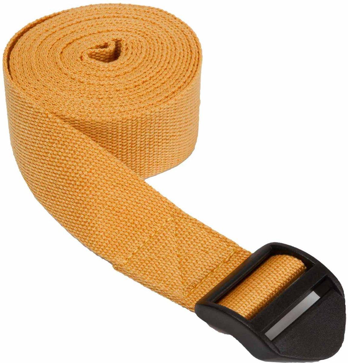 """#DoYourYoga - Yogariem - »Sadira« - 100% katoen met plastic sluiting - 280 cm (110"""") x 3,8 cm (1,5"""") - pastelgeel kopen"""