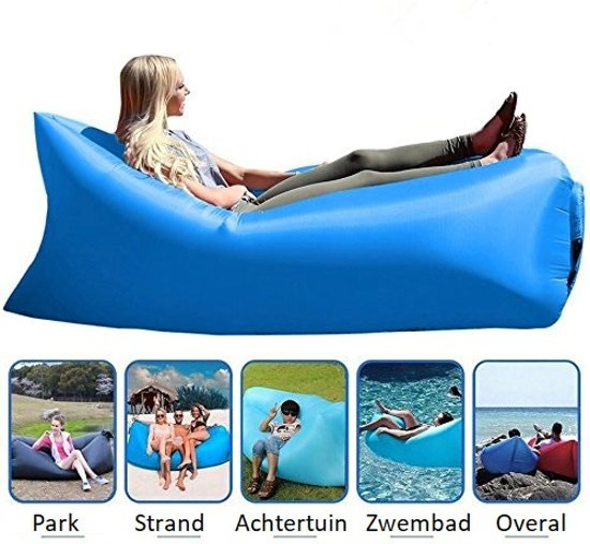 Opblaasbare Zitzak – Chill Lounge & Lazy Bag / Ligbed / Luchtbed – Ligstoel voor o.a. Strand - Blauw