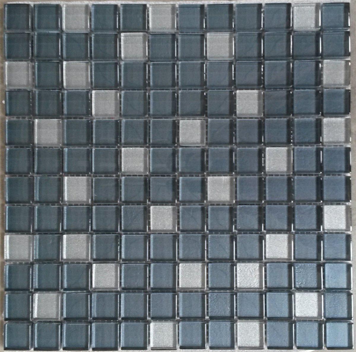 Mozaiek tegel glas grijs/zilver kopen