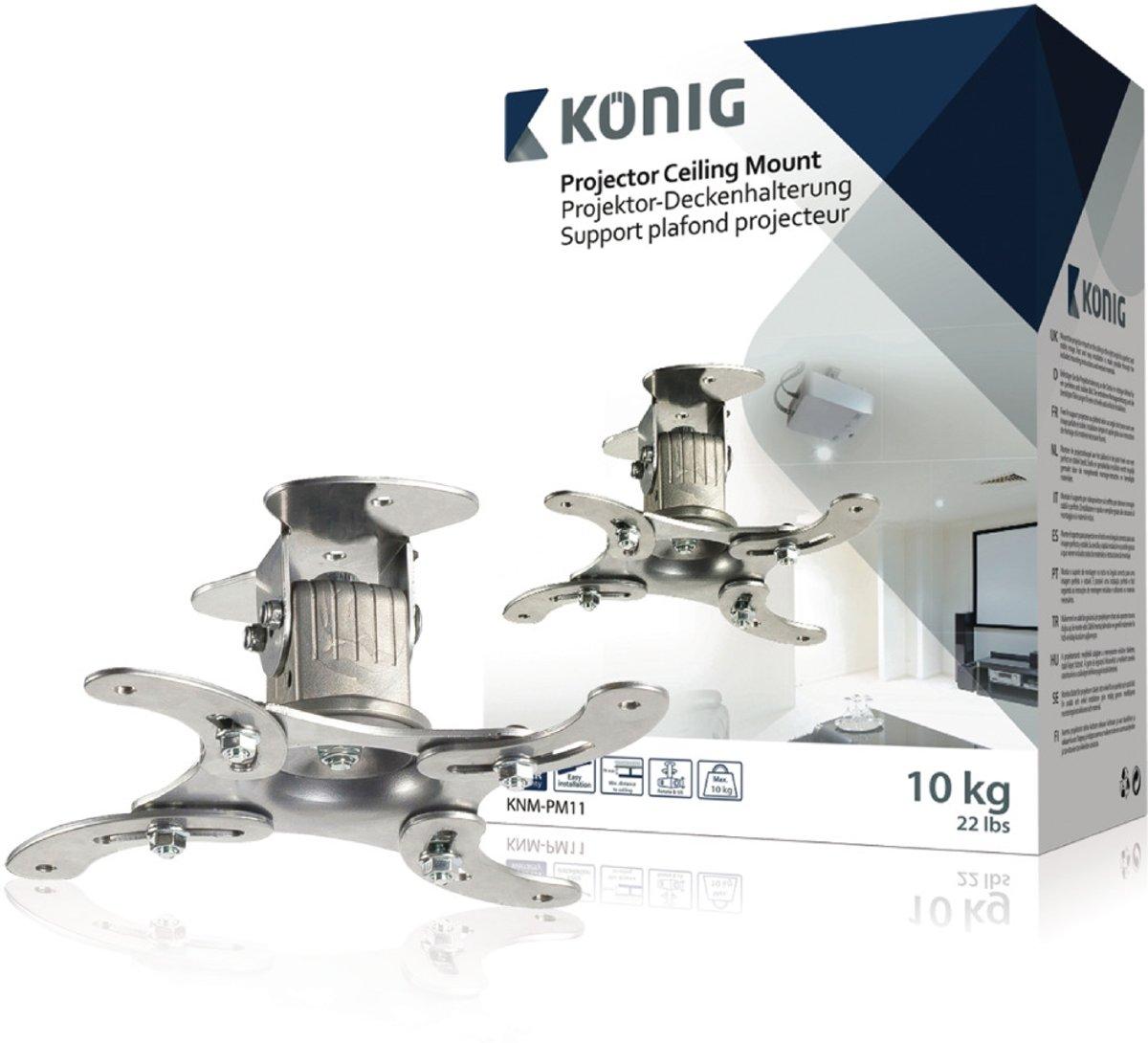 König Knm-pm11 Projectorplafondbeugel 10 Kg / 22 Lbs Zilver kopen