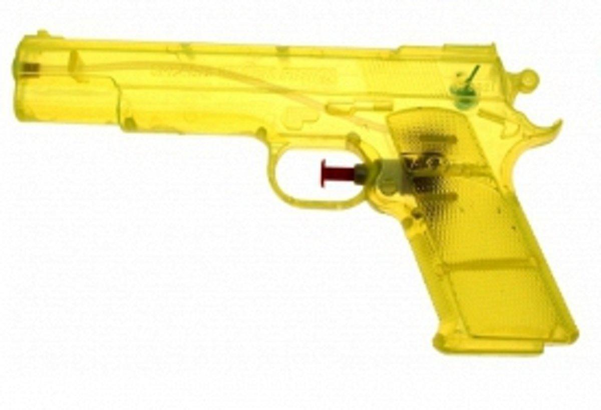 Geel speelgoed waterpistool 20 cm
