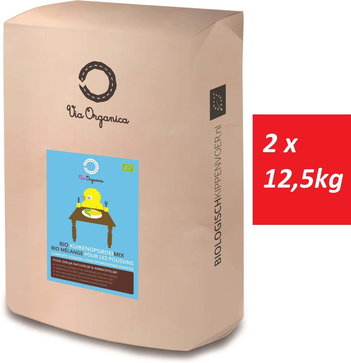 Bio Kuikenopgroeimix 2 x 12,5kg - biologisch kippenvoer