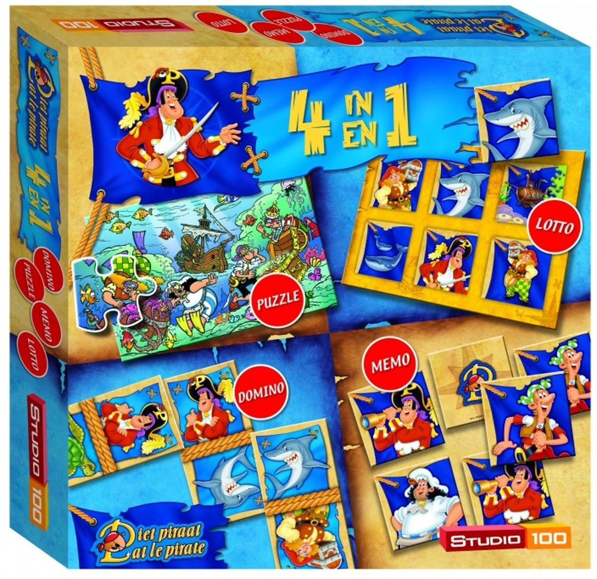 Piet Piraat 4-in-1 Speldoos - Kinderspel