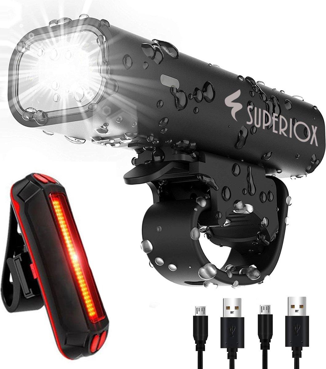 Fietsverlichting Set - Oplaadbare USB Led Fietslamp - Voor en Achter - Waterdicht - 4 Lichtstanden - Zwart