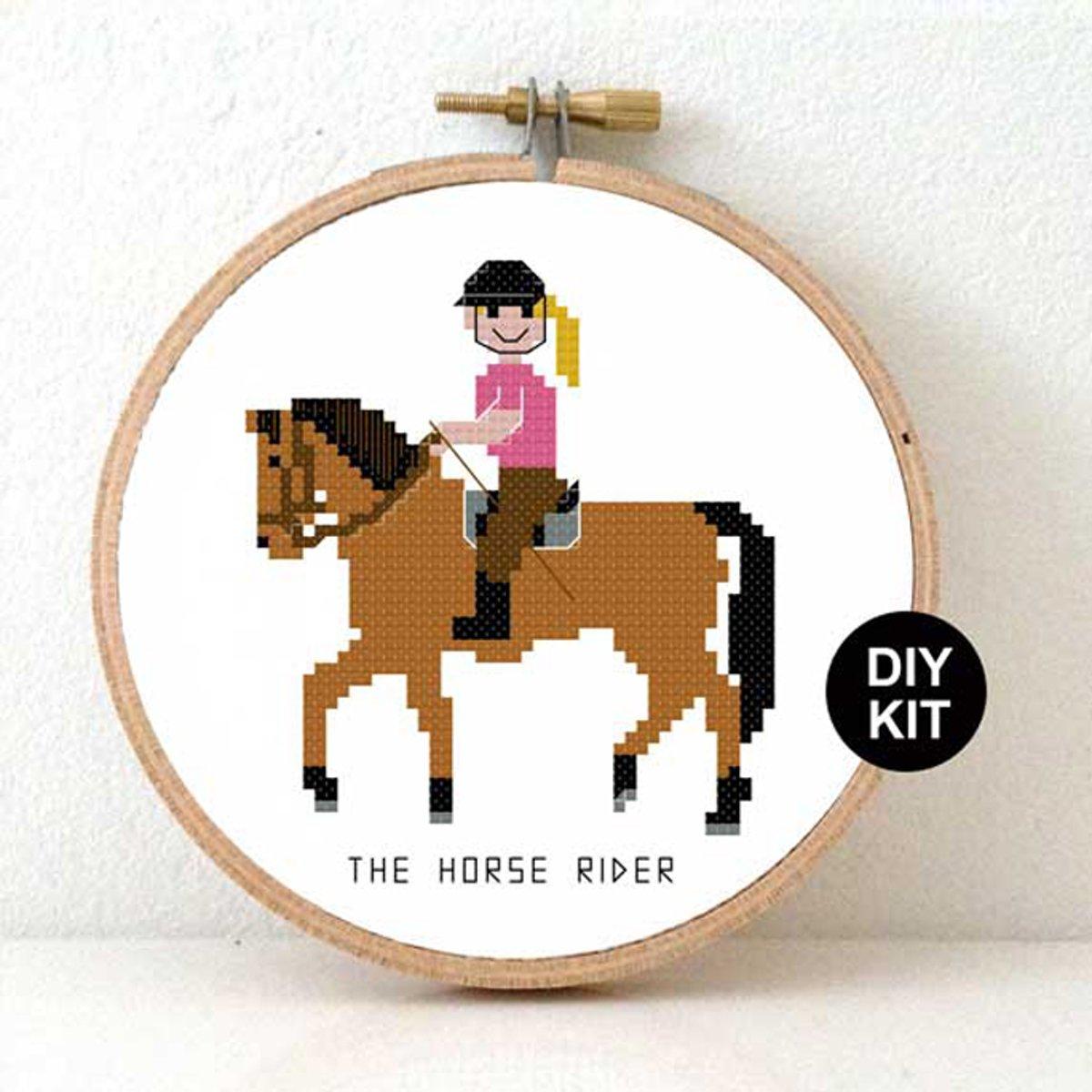 Decoratie Kinderkamer Meisje.Paardrijdster Borduurpakket Horse Rider Cross Stitch Kit Paard