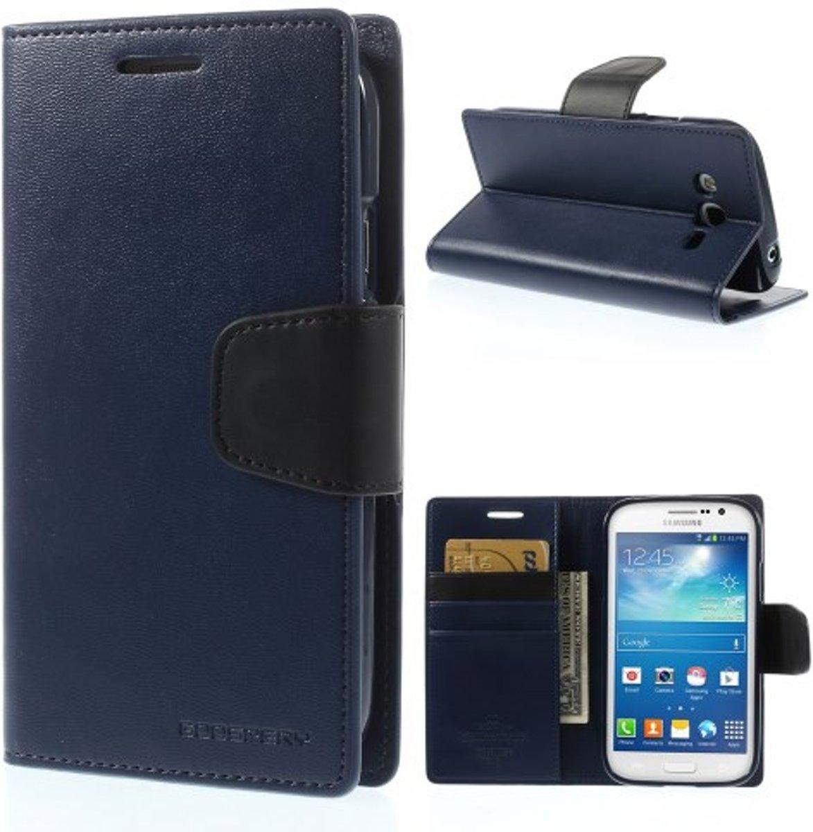 Goospery Sonata Leather Hoesje Samsung Galaxy Grand Neo Tempered Glass I9060 Blauw