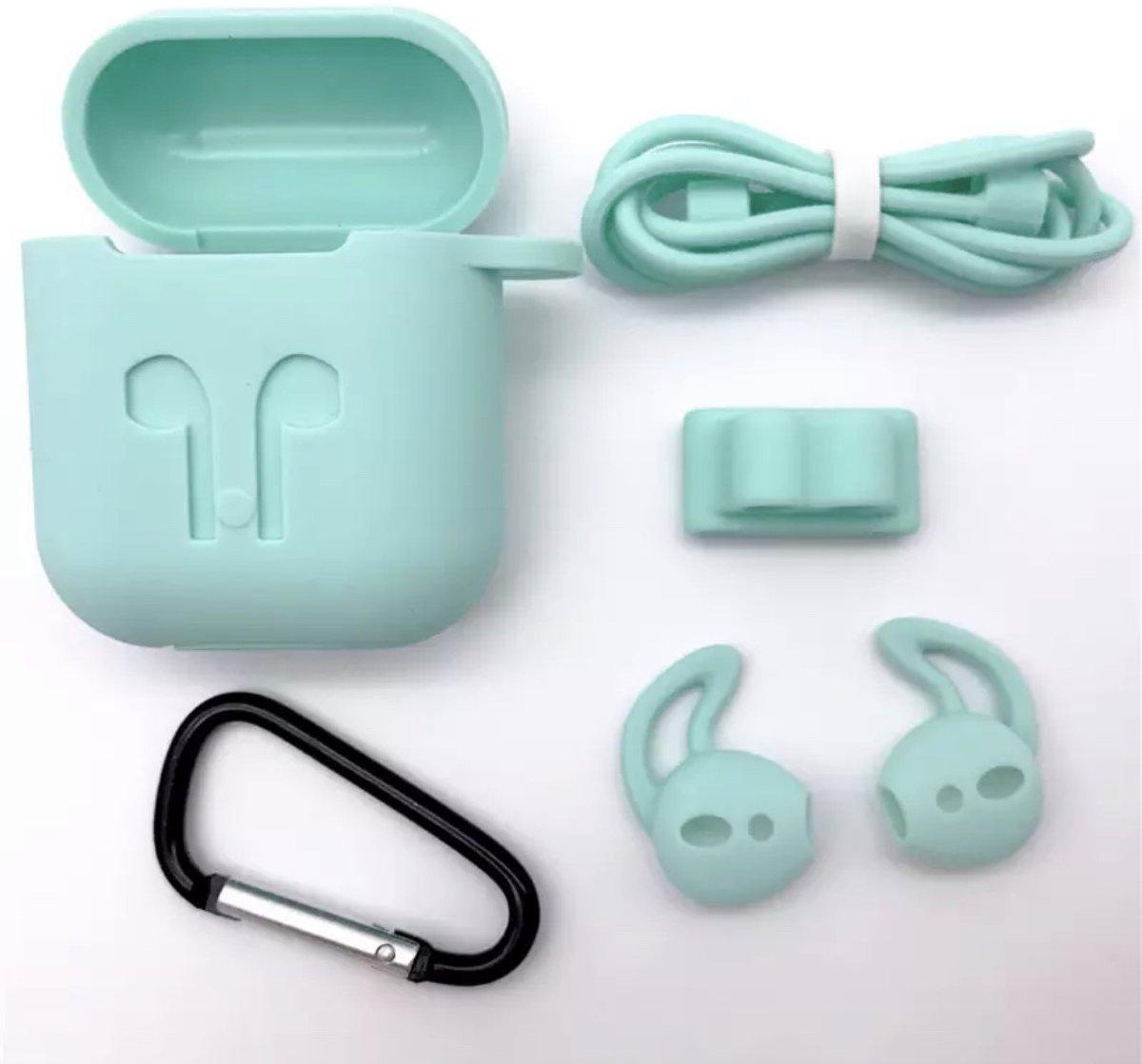 Siliconen Case Cover voor Apple Airpods - 5 in 1 set met Anti Lost Strap en Haak - Lichtgroen kopen