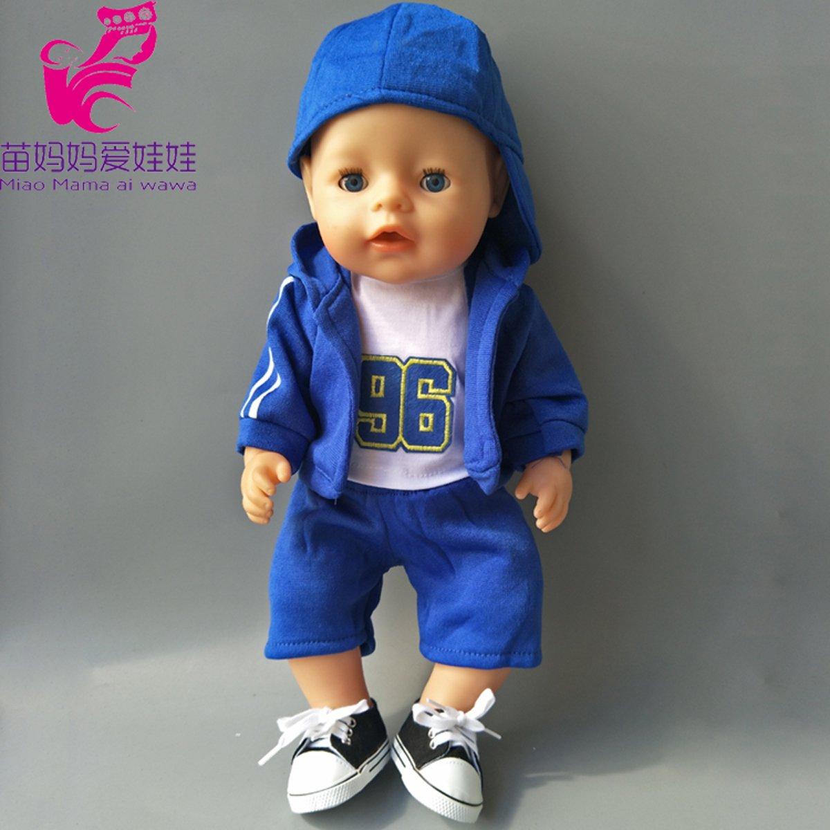 Stoer blauw pakje - geschikt voor Baby Born - Shirt, vestje, broek en pet