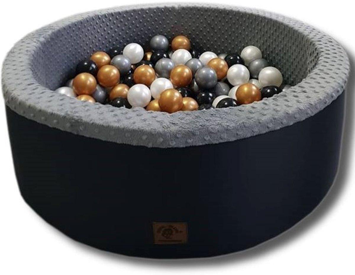 Grafiet kleur ballenbad - stevige ballenbak - 90 x 40 cm - 200 ballen Ø 7 cm - wit, goud, zilver, zwart