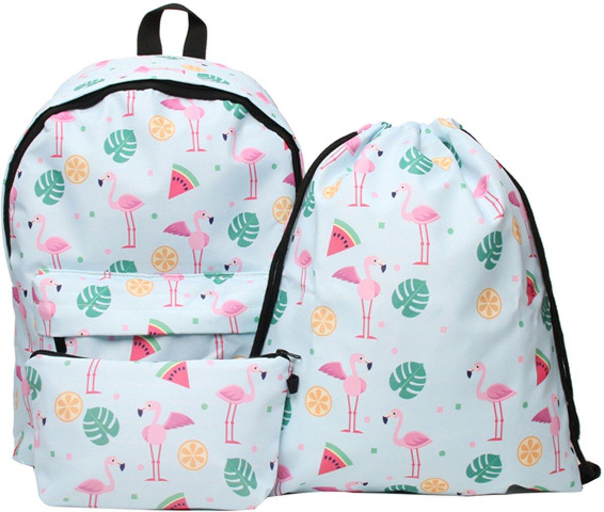 ab7860b2eca ... Flamingo Fruits School Pakket - 16 Liter - 3 in 1 - Rugtas|Etui| ...