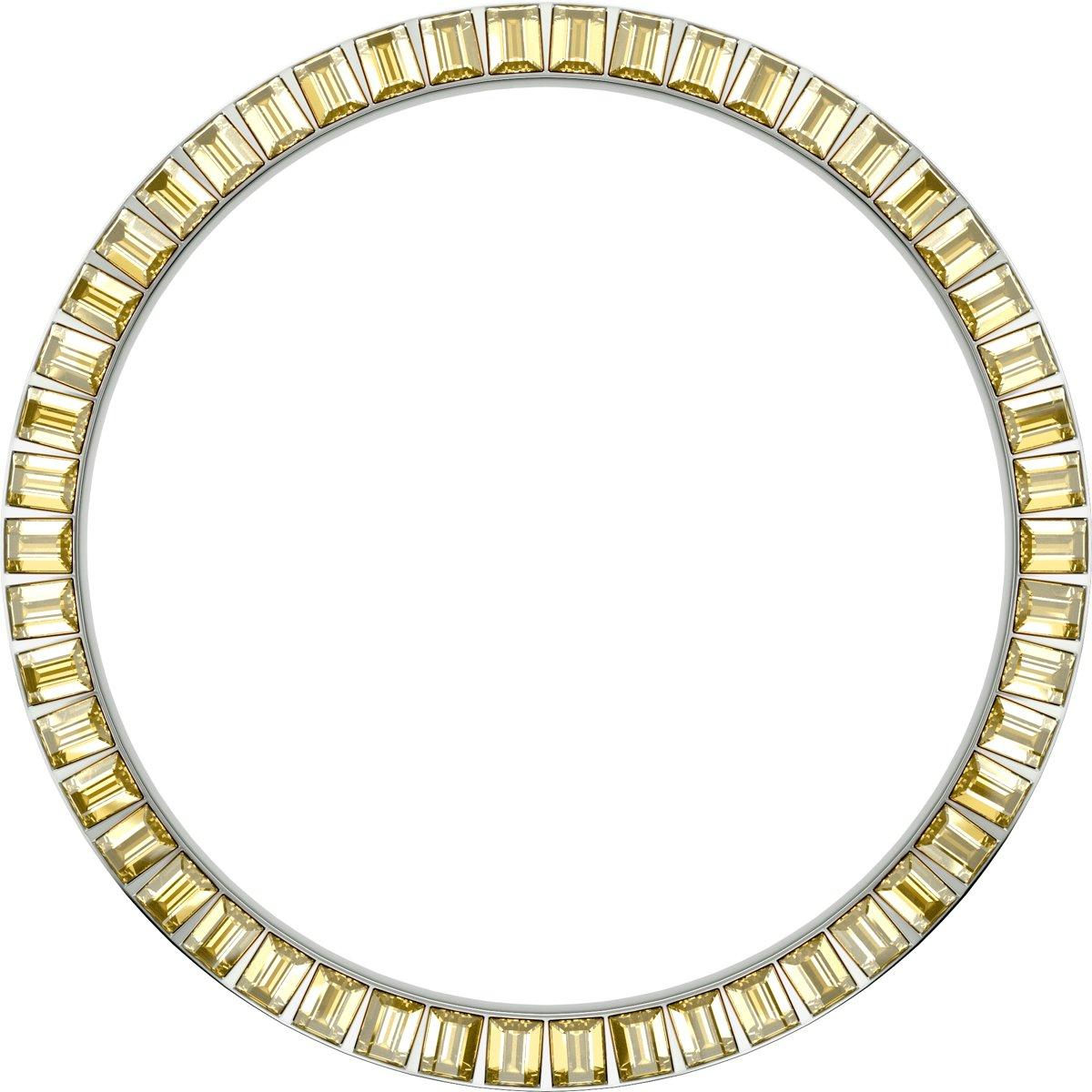 Marc Coblen MCB45S213 - Zilverkleurige verwisselbare horlogering - 45mm - Vierkante stenen - Geel kopen