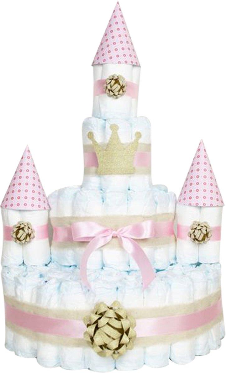 Pampertaart kasteel luiertaart meisjes 4 lagen 80 pampers  (maat 2) 4-8 kg babyshower - kraamcadeau - geboorte cadeau