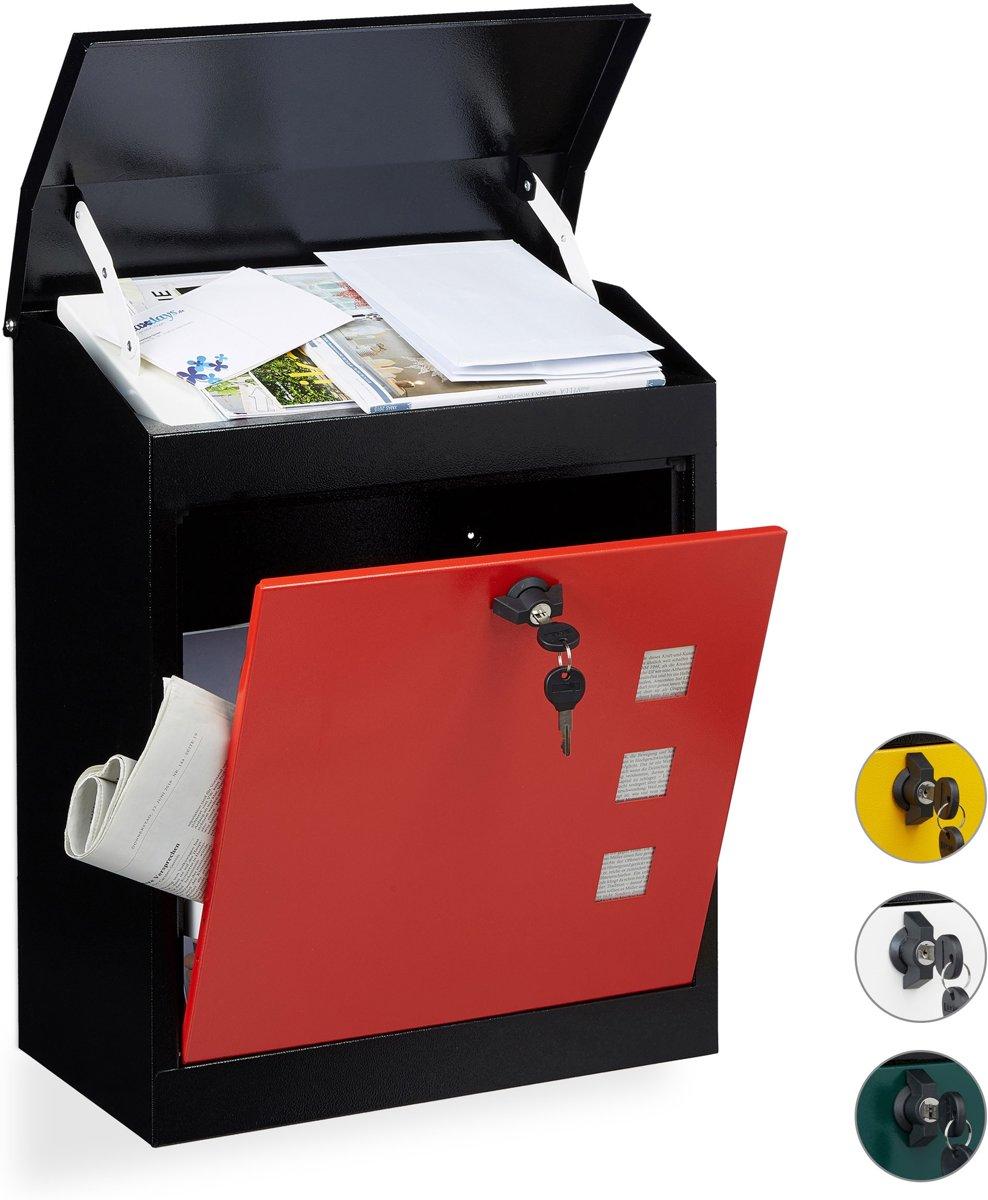 relaxdays brievenbus groot veiligheidsklep muurbrievenbus wandbrievenbus mailbox zwart-groen