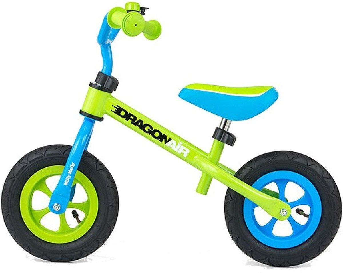 Milly Mally Loopfiets Dragon Air - Loopfiets - Jongens en meisjes - Groen,Blauw - 10 Inch