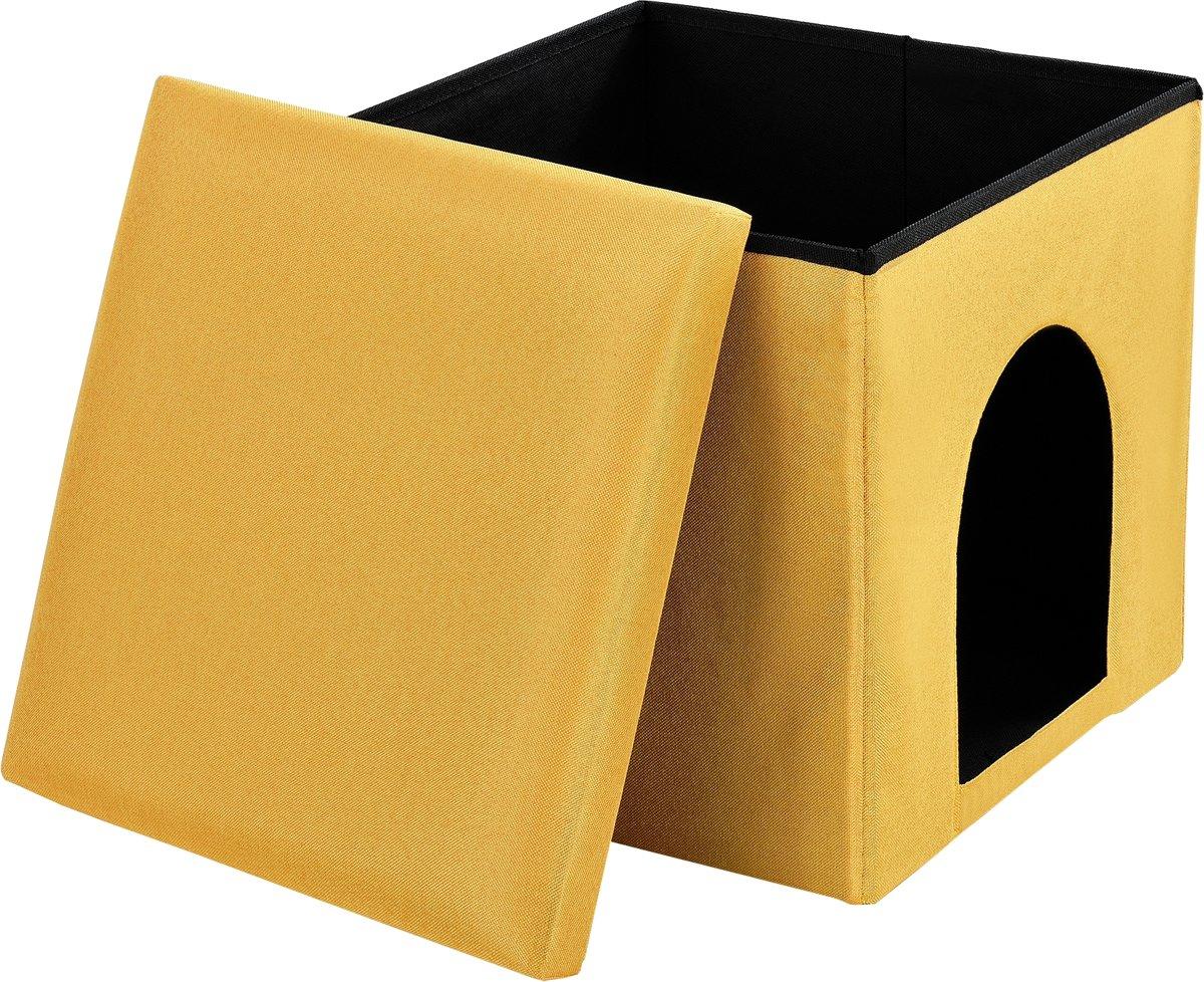 [en.casa]® 2 in 1 poef - krukje - geel kopen