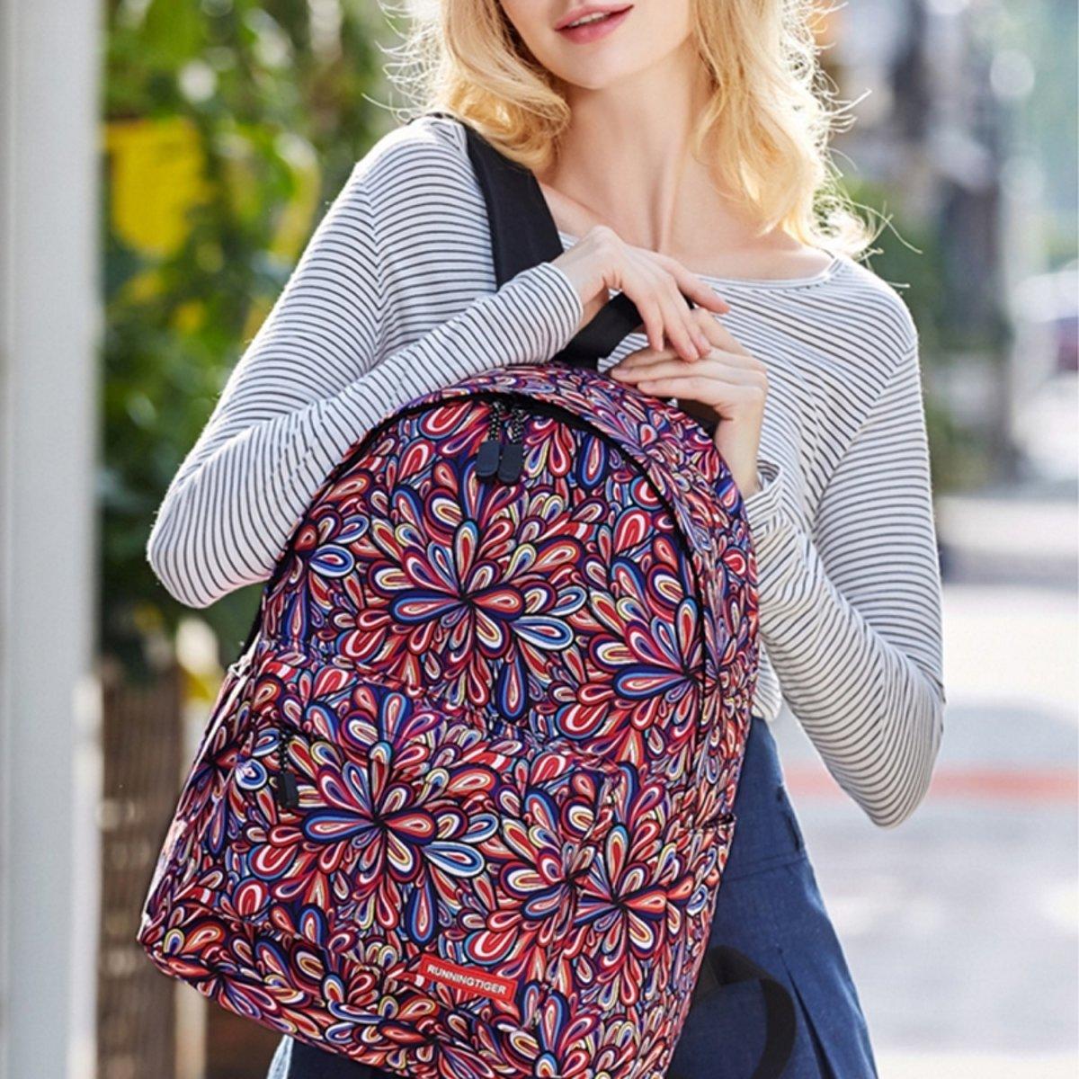Kleurrijke bloemen patroon Print reizen rugzak School schouders tas met Pen zak voor meisjes  formaat: 40 x 30 cm x 17 cm