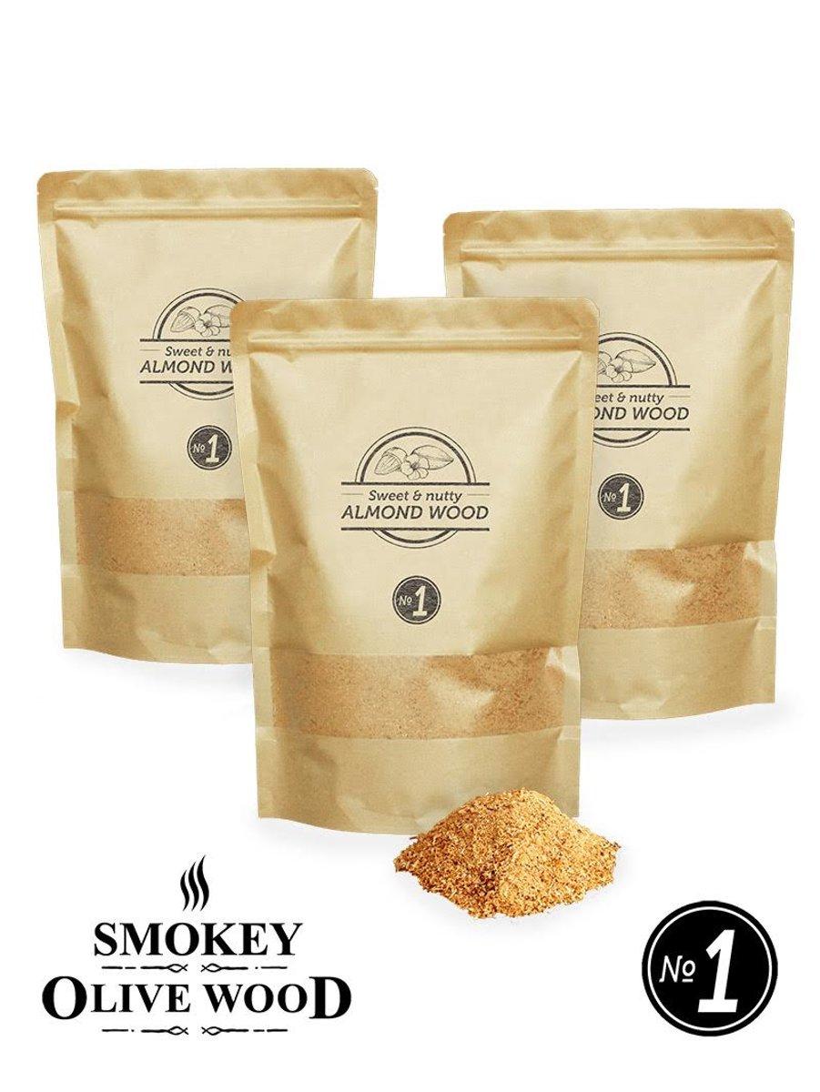 Smokey Olive Wood - Rookmot - 3x 1,5L, Amandelhout - Rookmeel fijn ø 0-1mm kopen